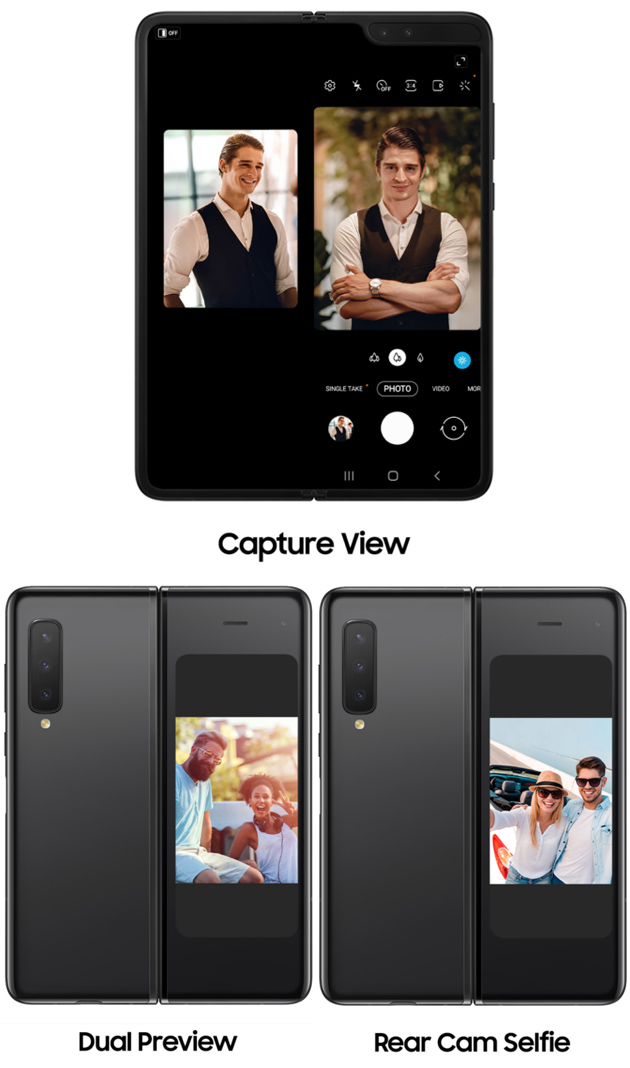 Capture View, Dual Preview, Rear Cam Selfie