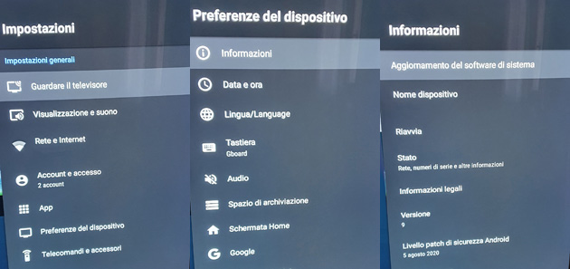 Android TV 9 su Sony TV - il menu di Android 9