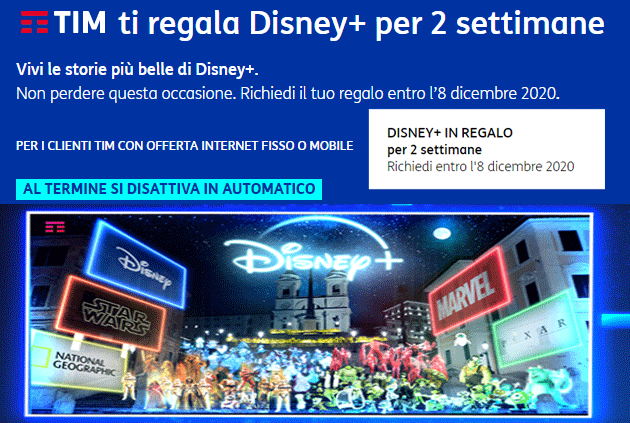 TIM regala Disney Plus per 2 settimane