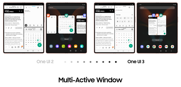 Multi-Active Window su Galaxy Z Fold2 conOne UI 3.1