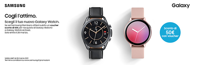 Voucher sconto di 50 euro per l'acquisto di Galaxy Watch3 e Galaxy Watch Active2