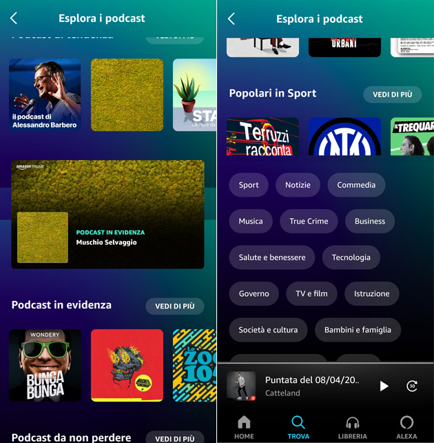Podcast su Amazon Music (app Android)