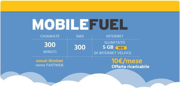 Fastweb Mobile Fuel: minuti, SMS e 5 GB a 10 euro al mese