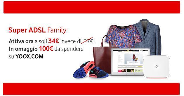 Vodafone Super ADSL Family, buono Yoox da 100 euro entro Stasera