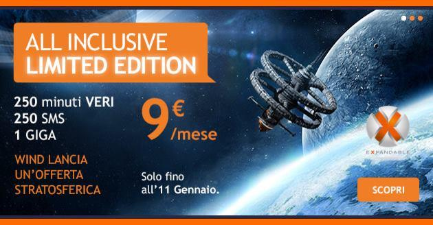 Wind All Inclusive Limited Edition a 9 euro al mese fino al 11 Gennaio