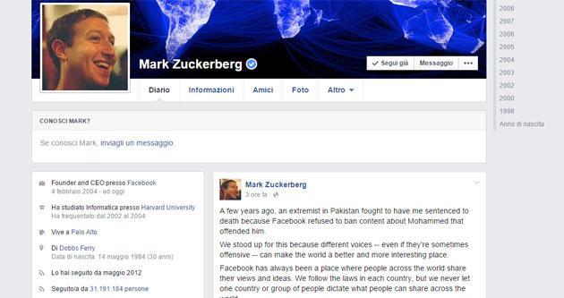 Zuckerberg: su Facebook opinioni libere, no agli estremisti