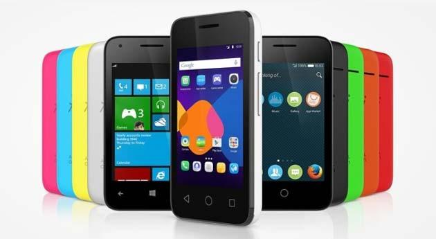 Alcatel Pixi 3 a CES 2015, telefono che puo' eseguire WP, Android, o Firefox OS