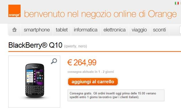 BlackBerry Q10 e BlackBerry 9720 in offerta da Orange