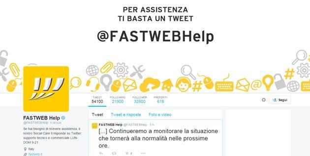 Fastweb down: disservizi del 2 Febbraio risolti