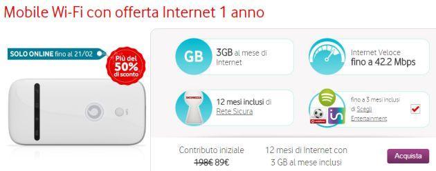 Vodafone Mobile Wi-Fi con offerta Internet 1 anno