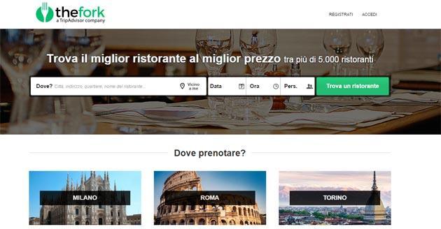 Tripadvisor lancia TheFork per prenotare Ristoranti in Italia