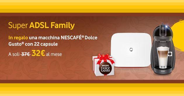 Vodafone Super ADSL, entro stasera in regalo una macchina del Caffe' con 22 cialde
