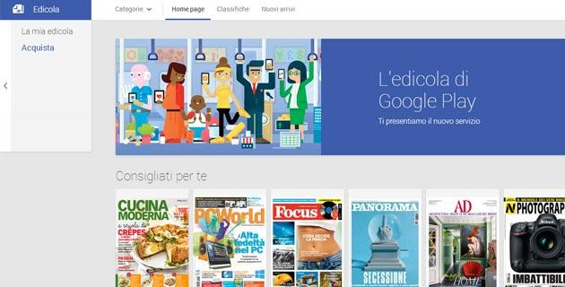 Google Play Edicola apre in Italia, addio Currents