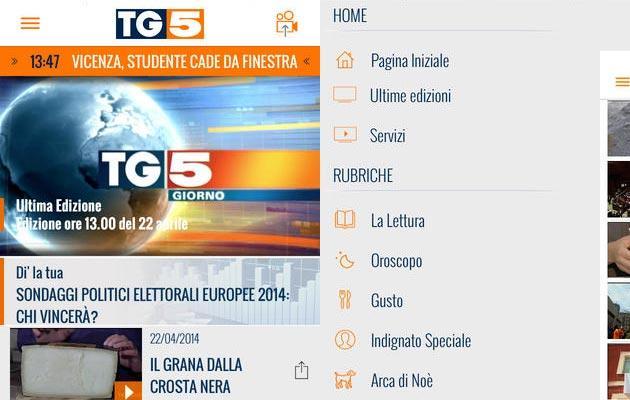 nuova app tg5