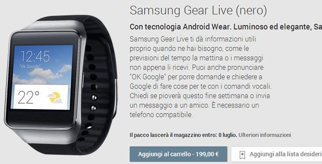 Samsung Gear Live in vendita su Play Store