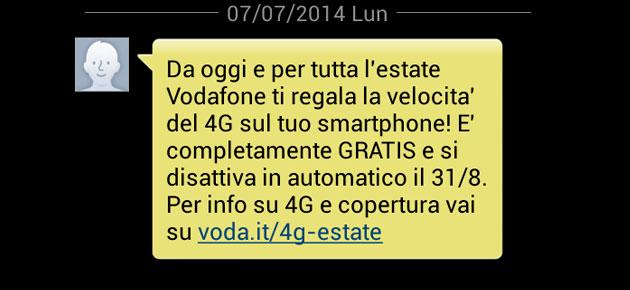 Vodafone: 4G in regalo per tutta l'estate 2014