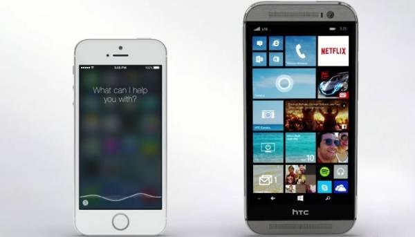 Cortana vs Siri: nuovo promo con HTC One M8 Windows Phone