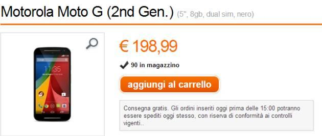 Motorola Moto G 2014 in Offerta nello store Orange
