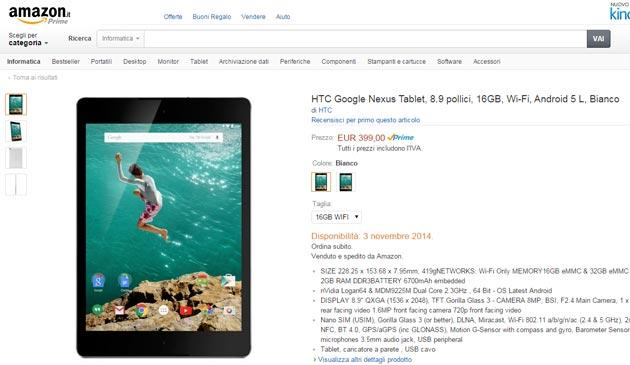 Nexus 9 in preordine su Amazon.it da 399 euro