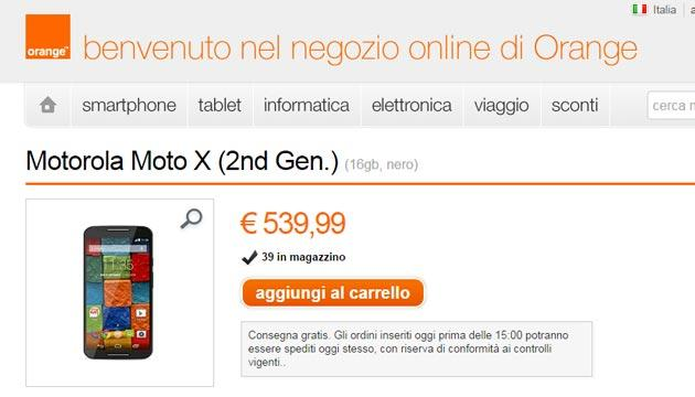 Motorola Moto X 2014 2a Gen. acquistabile in Italia sullo Store Orange