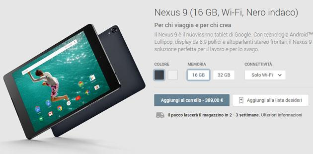 Google HTC Nexus 9 sul Play Store italiano in preordine da 389 euro