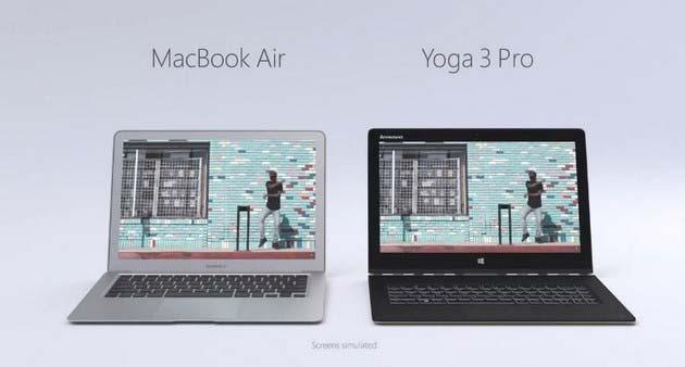 Lenovo Yoga 3 VS Macbook Air in una nuova pubblicita'