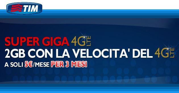 TIM Ricarica online: 2 GB su rete 4G regalo per ricariche di almeno 20 euro