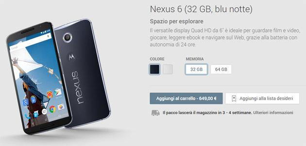 Google Nexus 6 disponibile nel Play Store Italiano