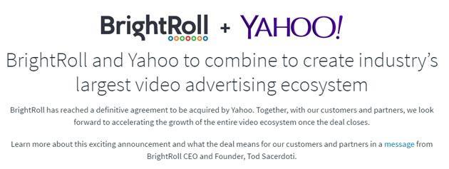 Yahoo acquista BrightRoll per 640 Milioni di dollari