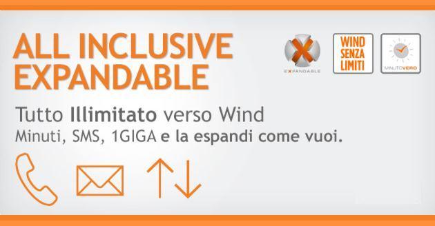 Wind All Inclusive Expandable: minuti, SMS e dati a partire da 10 euro al mese
