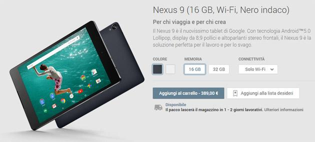 Nexus 9 in Italia: da oggi in vendita primo Tablet con Android 5.0 Lollipop