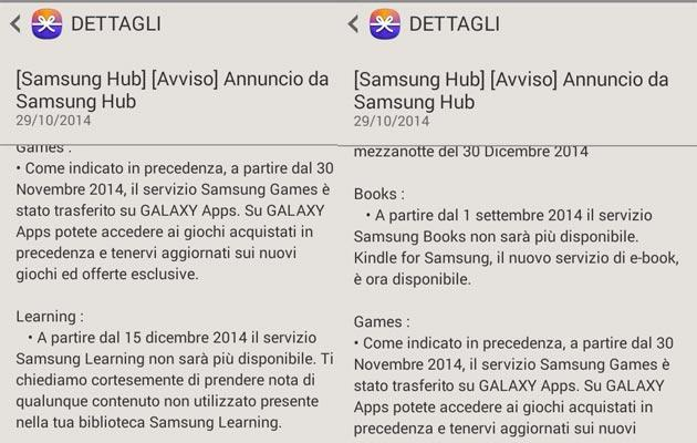 Samsung Hub, Video, WatchON chiudono a fine 2014