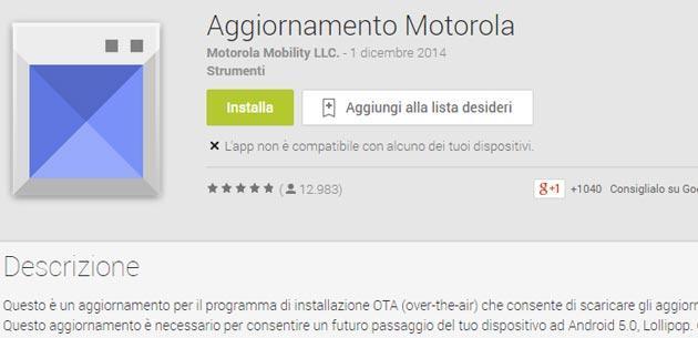 Moto G e Moto G 2014, Android Lollipop arriva con 'Aggiornamento Motorola'