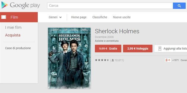 Sherlock Holmes in regalo su Google Play