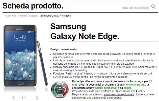 Samsung Galaxy Note Edge con Tre Italia