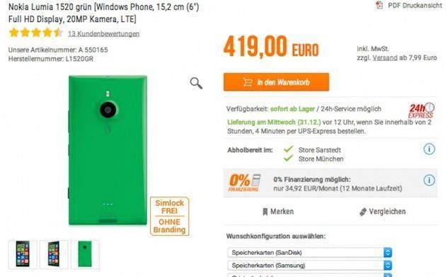 Nokia Lumia 1520 con scocca Verde in vendita in Germania