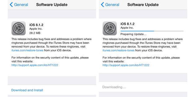 iOS 8.1.2, Apple risolve diversi altri bug