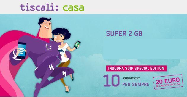 Tiscali Super 2 GB: 500 minuti, 500 SMS e 2 GB a 10 euro al mese