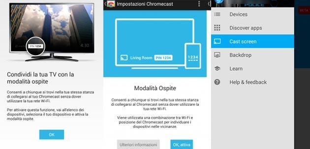 Chromecast: Screen Mirroring per tutti e Modalita' Ospite