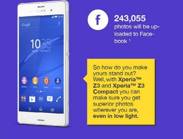 Sony Xperia Z3: infografica sulla qualita' della fotocamera
