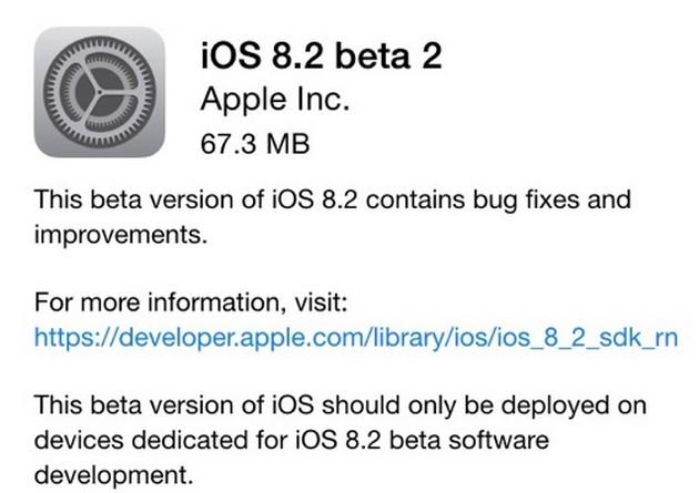 Apple iOS 8.2: le novita' della Beta 2 per sviluppatori