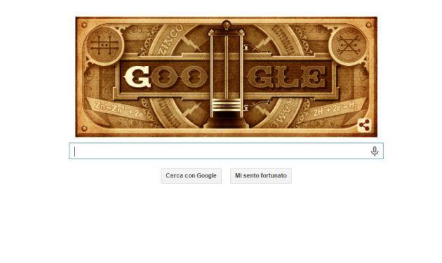 Google Doodle dedicato ai 270 anni di Volta e alla sua Pila