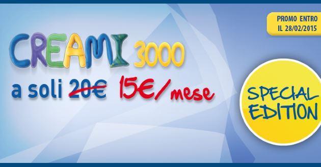 PosteMobile Creami 3000 in promozione a 15 euro al mese per tutto Febbraio