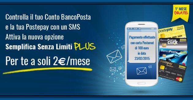 PosteMobile Semplifica Senza Limiti Plus: controllare via SMS il conto BancoPosta e la PostePay