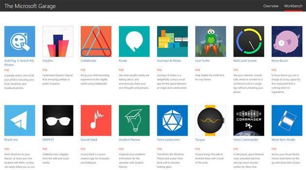 Microsoft Garage, sito che mette in mostra le app sperimentali