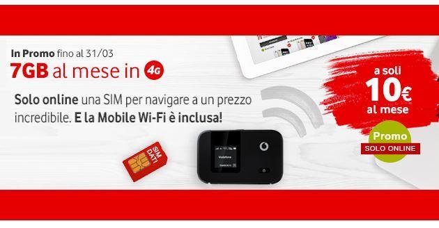 Vodafone, promo 7 GB piu' Mobile WiFi a 10 euro al mese fino al 31 Marzo