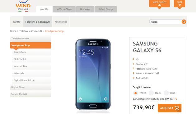 Samsung Galaxy S6 e Galaxy S6 Edge con Wind