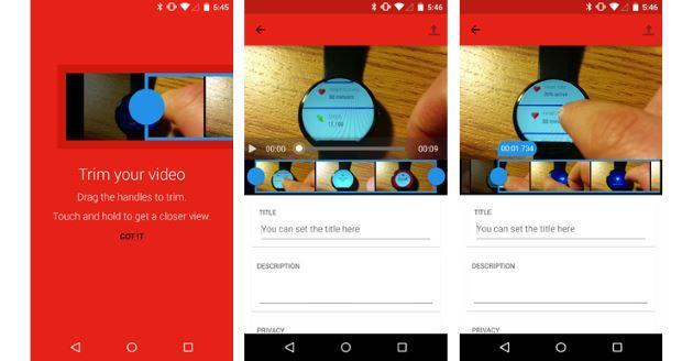 YouTube per Android consente di Tagliare i Video prima di pubblicarli online