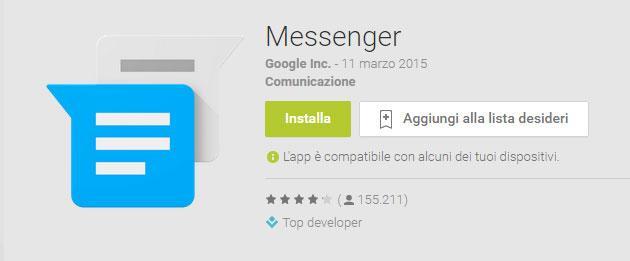 Google Messenger per Android si aggiorna con nuove funzioni