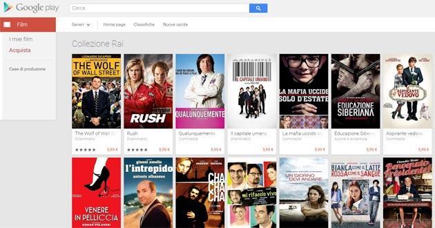 Google: i titoli Rai Cinema su Google Play Store Film